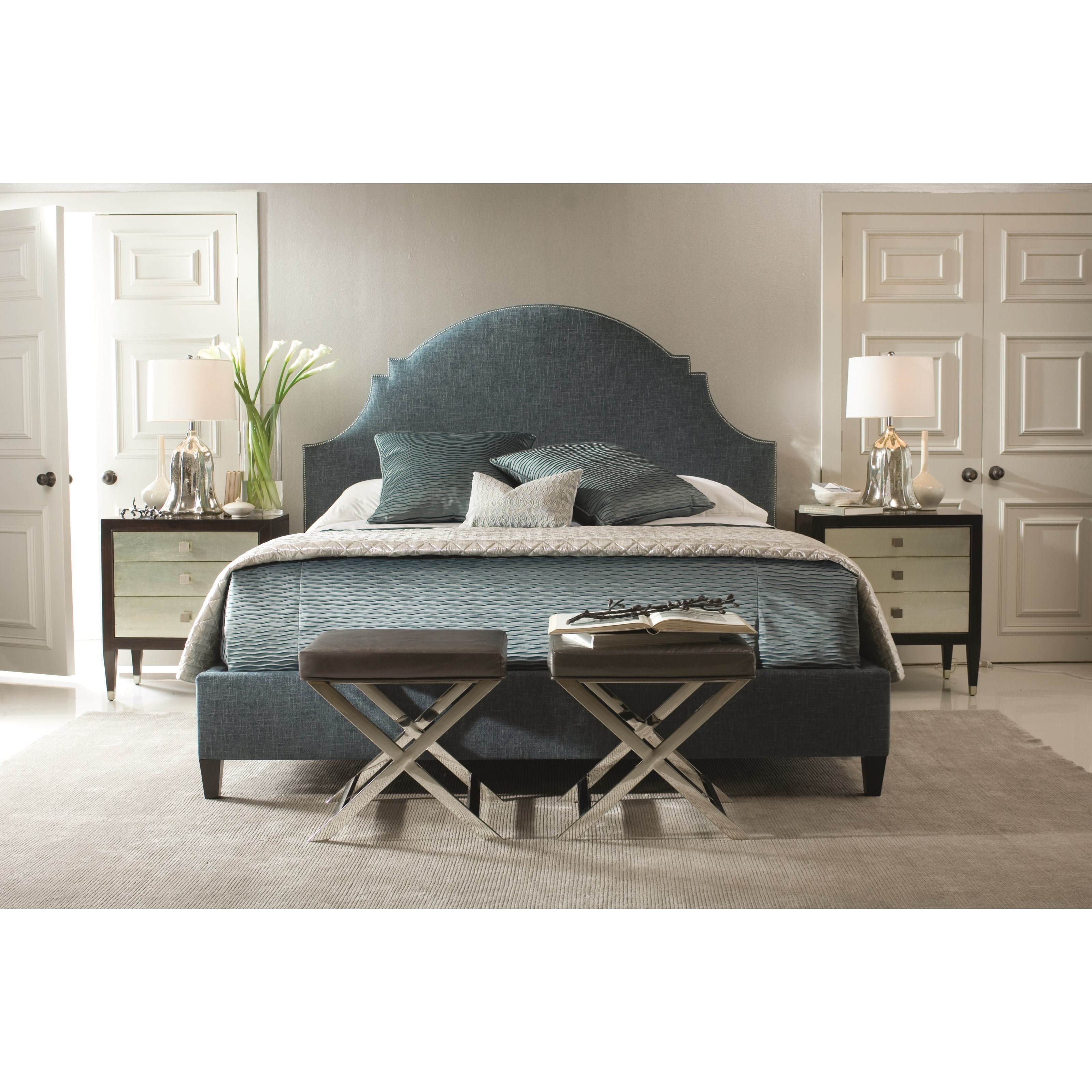 lindsey queen upholstered bed with