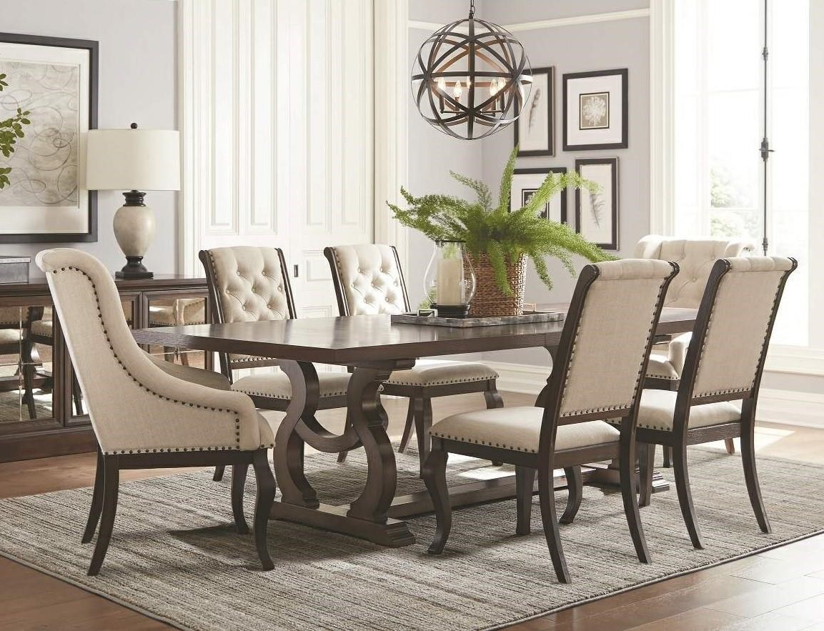 Dining Room Upholstered Chairs Glen Cove Trestle Dining Table 2 Upholstered Wing Chairs 4 Upholstered Side Chairs By Coaster At Great American Home Store