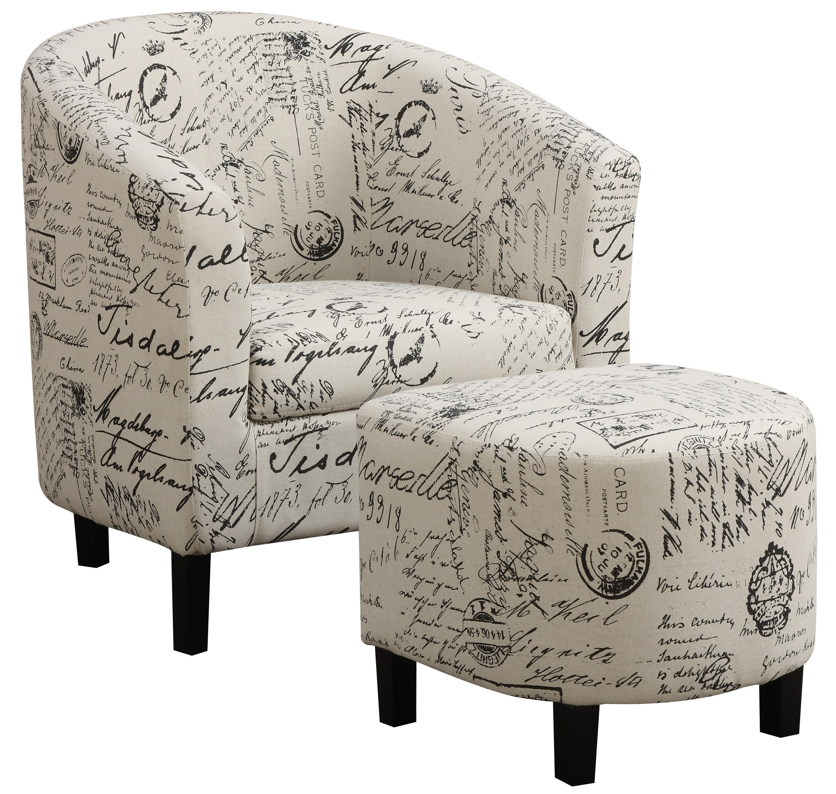Coaster Accent Chair Accent Seating Two Piece Accent Chair And Ottoman Set In French Script Pattern By Coaster At Dunk Bright Furniture