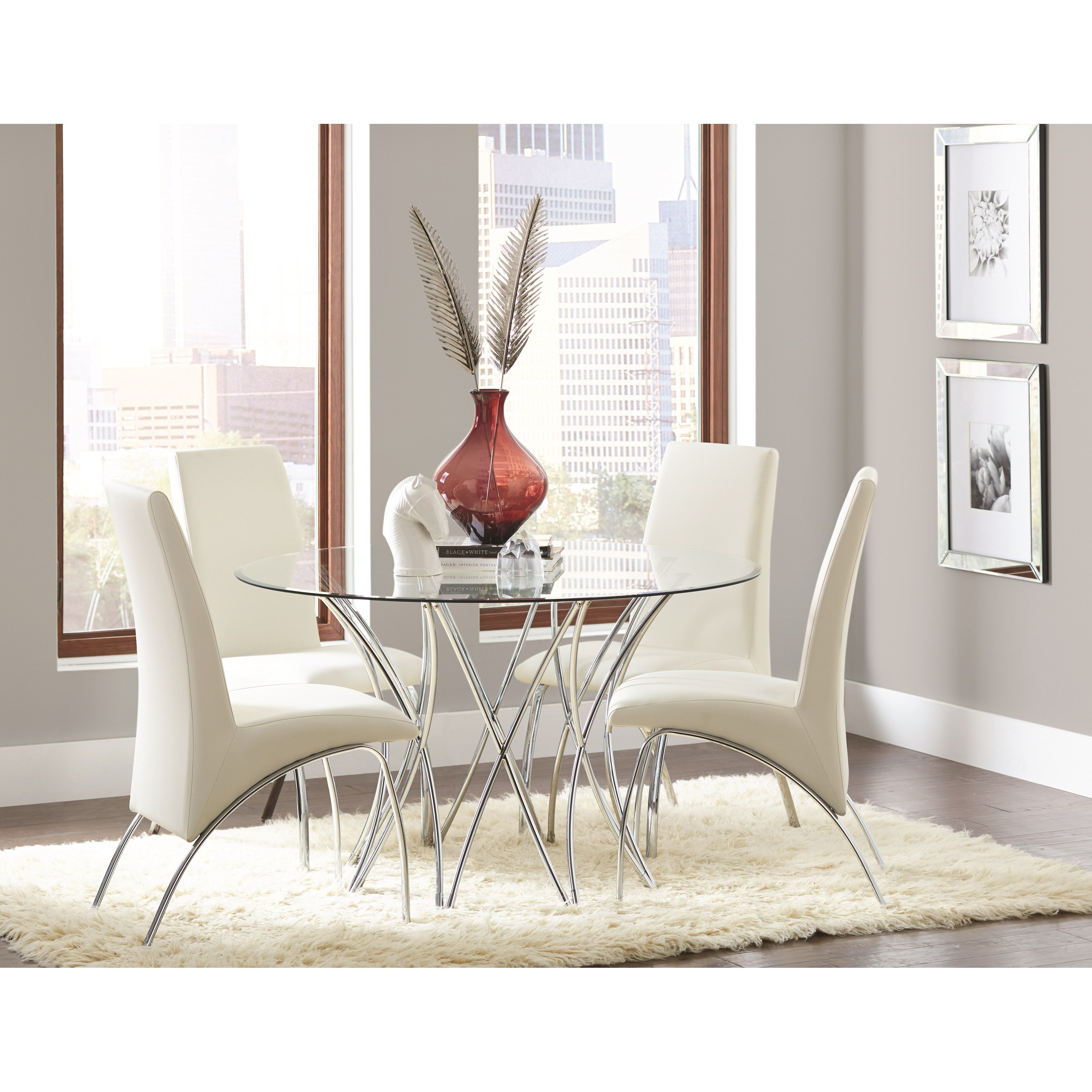 Coaster Cabianca Contemporary Dining Set With Glass Top