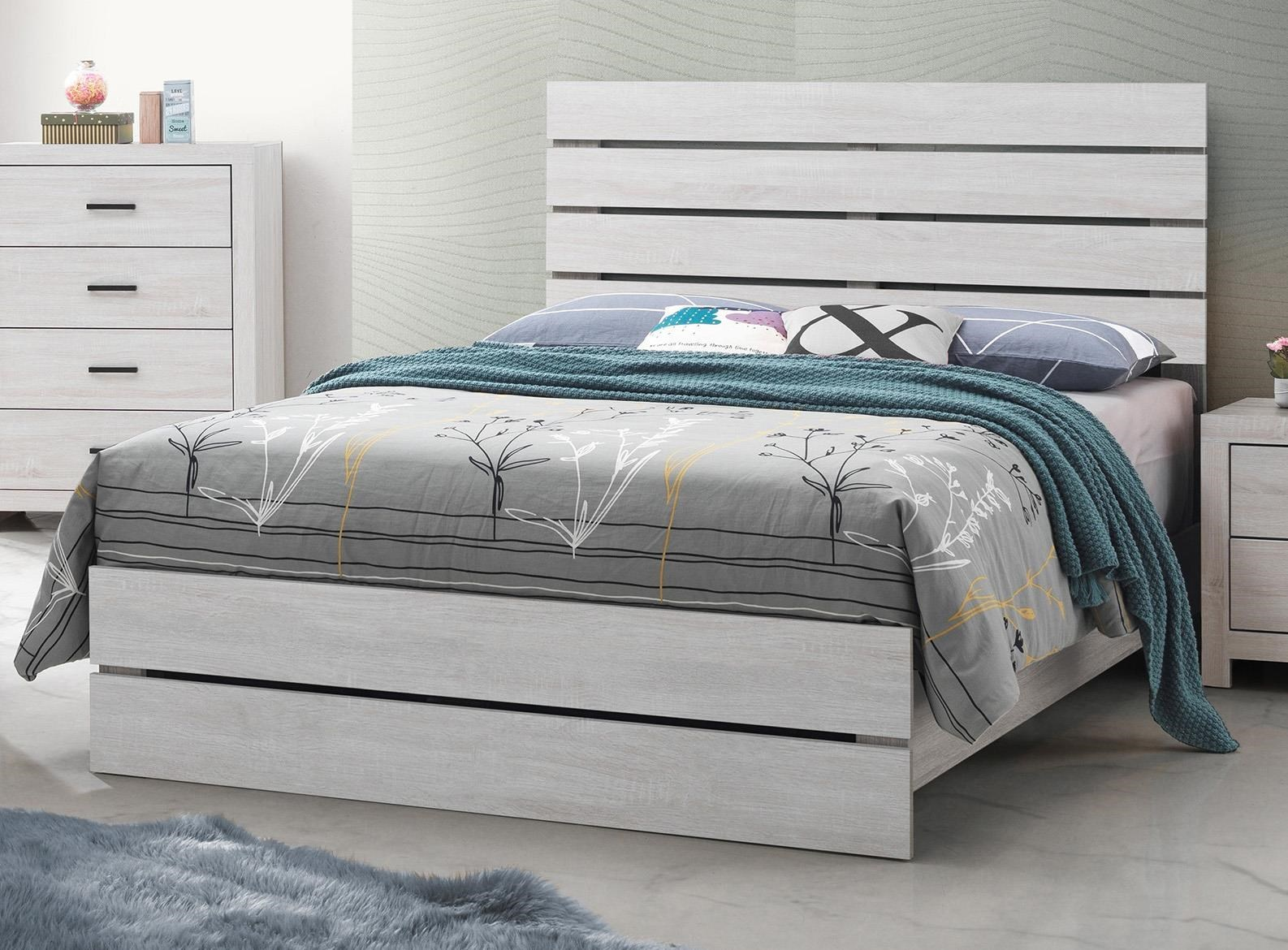Coaster Coastal 207051f White Full Size Platform Bed Sam Levitz Furniture Platform Beds Low Profile Beds