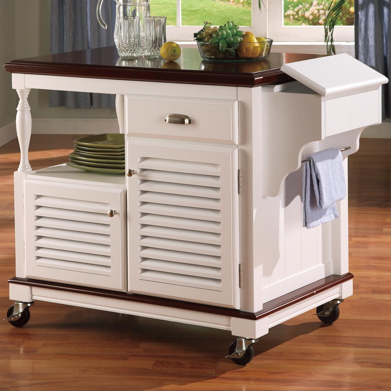 kitchen carts flooring for coaster 910013 cherry topped cart dunk bright furniture islands