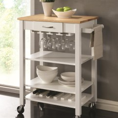 Kitchen Carts Utensil Caddy Coaster 910025 White Natural Cart With Butcher Block Top Dunk Bright Furniture Islands