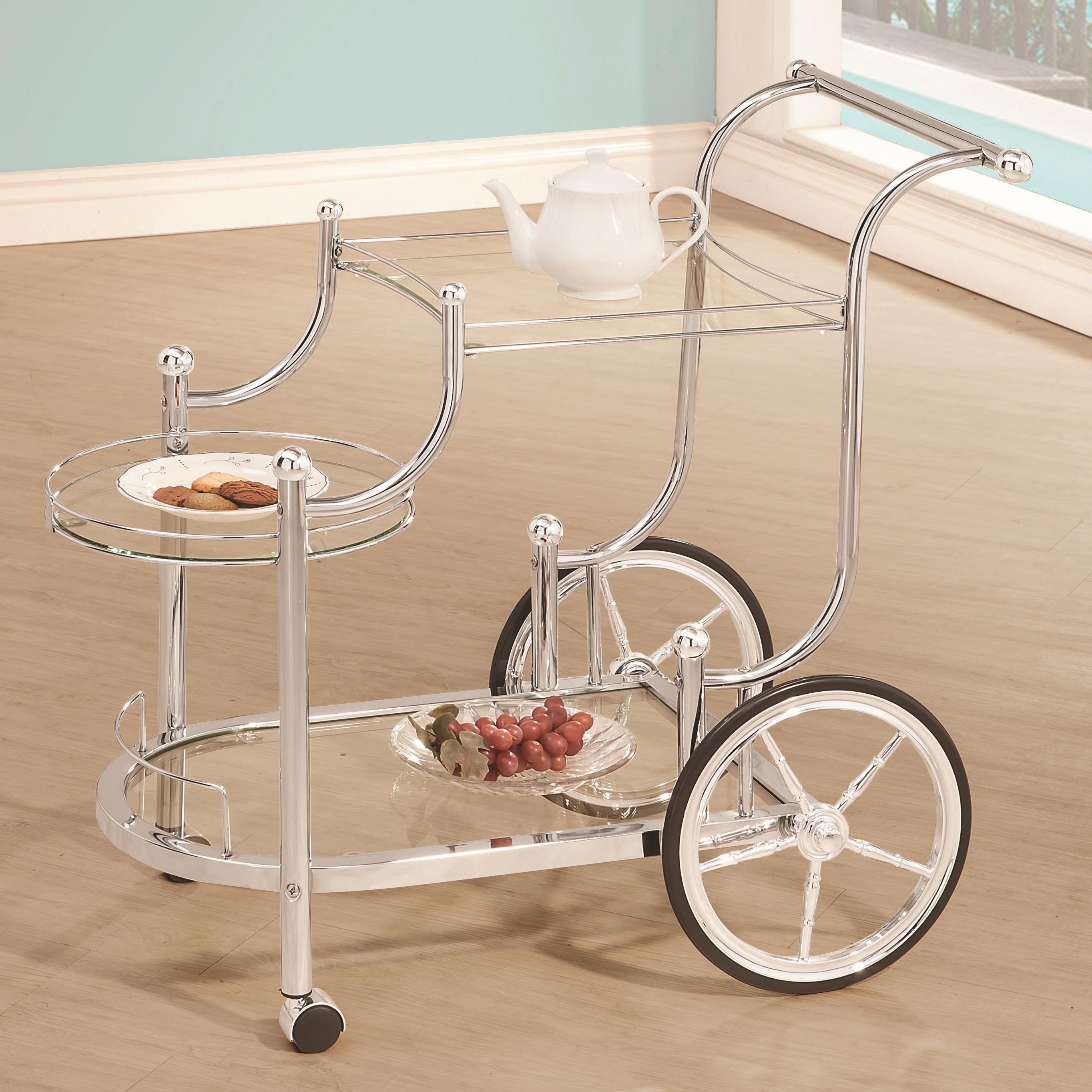 kitchen serving cart outdoor houston coaster carts 910076 traditional wheeled with chrome finials dunk bright furniture bar