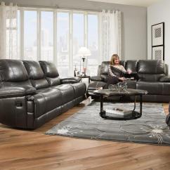 Living Room Furniture Brooklyn Pouf Corinthian Charcoal 42801 30 Leather Charcoalreclining Sofa