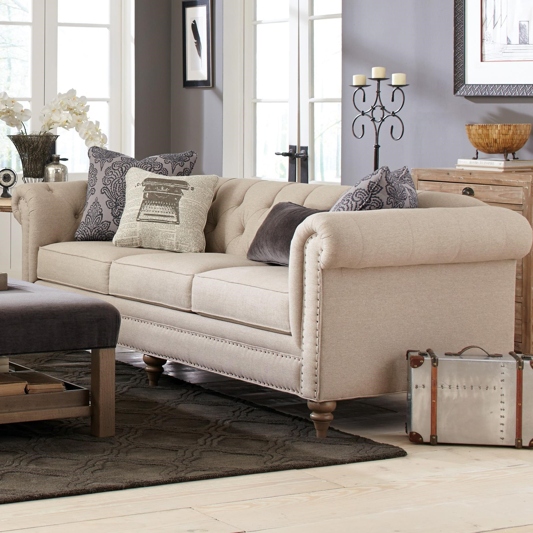 white leather sofa with nailheads grey design ideas emma sam moore reviews wayfair - thesofa