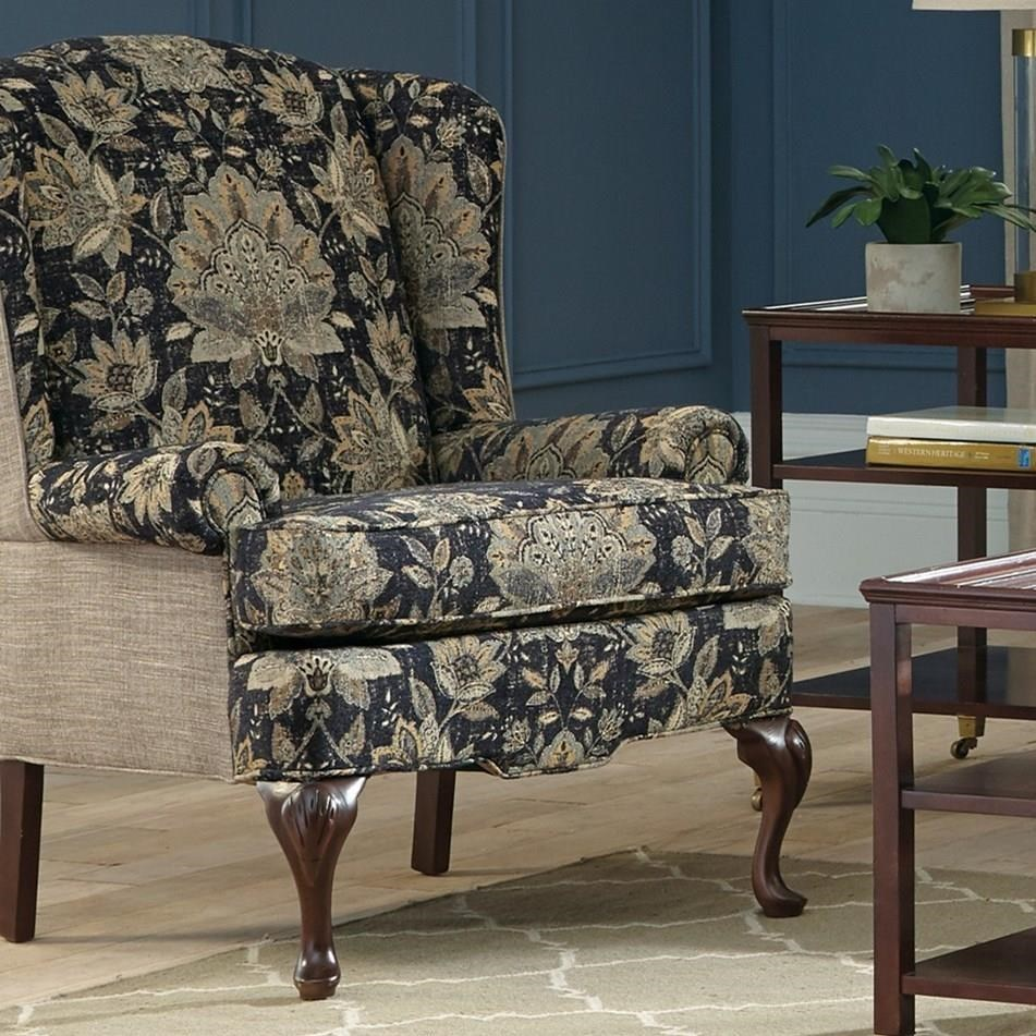 craftmaster chair and a half iron cushions accent chairs traditional wing with cabriole legs fashion furniture