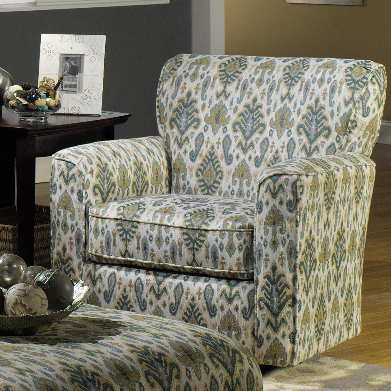 Upholstered Swivel Chairs Accent Chairs Contemporary Upholstered Swivel Chair With Flared Arms And Welt Cord Trim By Craftmaster At Becker Furniture World