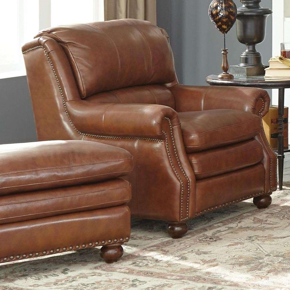 Leather Chairs With Ottoman L164650 Traditional Leather Chair And Ottoman Set By Craftmaster At Olinde S Furniture
