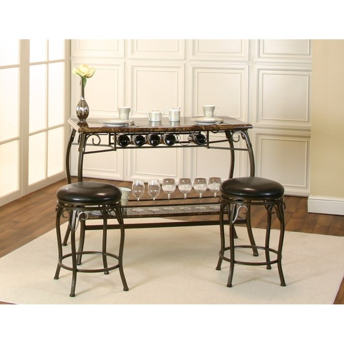 Marquette 3 Piece Counter Height Bar Table And Stool Set With Wine Storage Morris Home Pub Table And Stool Sets