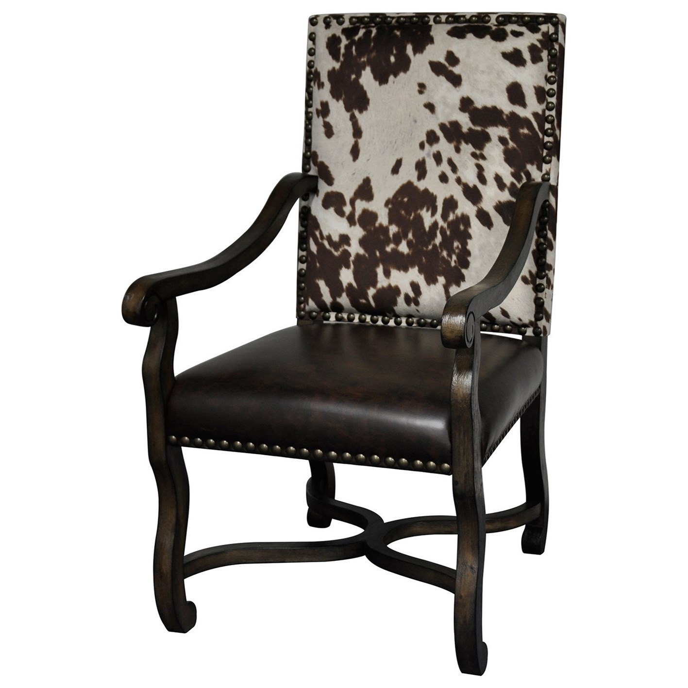 Cow Hide Chair Accent Furniture Mesquite Ranch Leather And Faux Cowhide Arm Chair By Crestview Collection At Great American Home Store