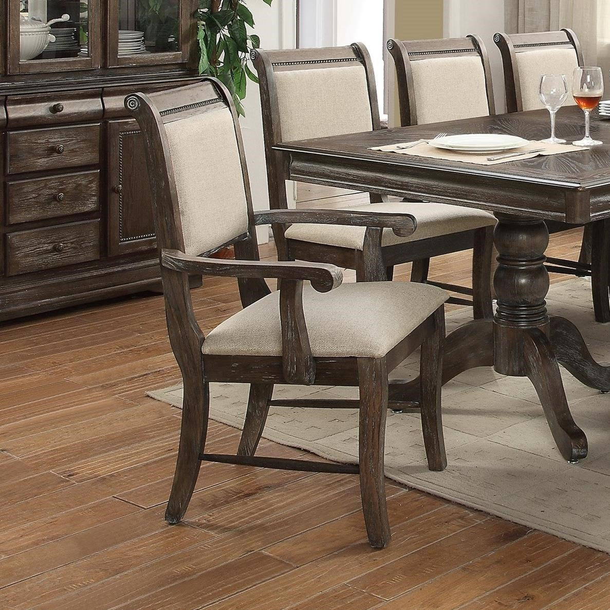 upholstered arm dining chair best beach with canopy crown mark merlot 2147a gy striped seat and back
