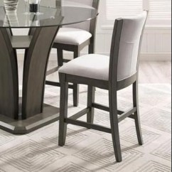 Upholstered Counter Height Chairs Throne Chair Crown Mark Camelia Grey Stool With Seat