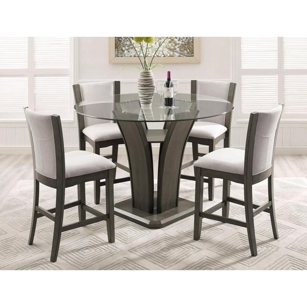 Crown Mark Camelia Grey 5 Piece Counter Height Table And Stool Set Royal Furniture Pub Table And Stool Sets