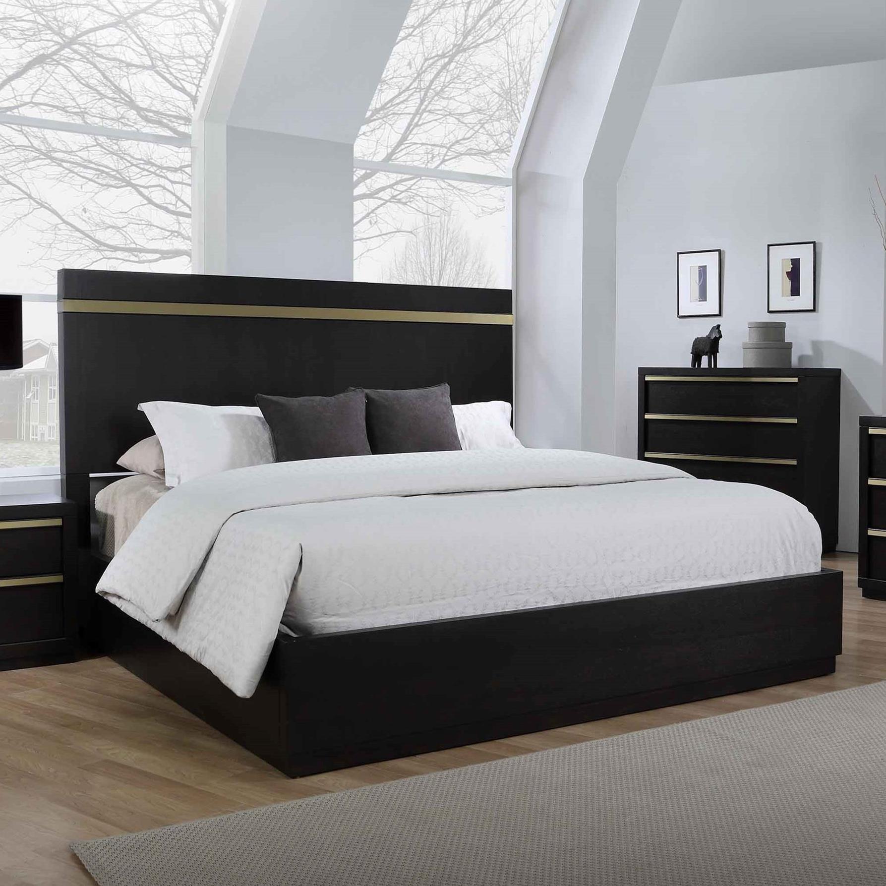 Crown Mark Lastra Contemporary King Platform Bed Royal Furniture Platform Beds Low Profile Beds