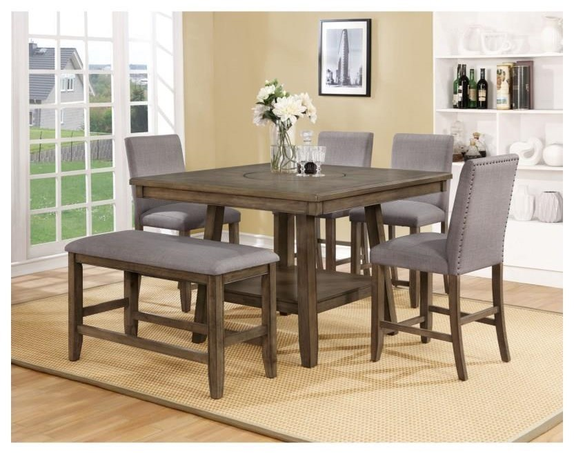 Crown Mark Manning Counter Height Table Set With Lazy Susan Darvin Furniture Pub Tables