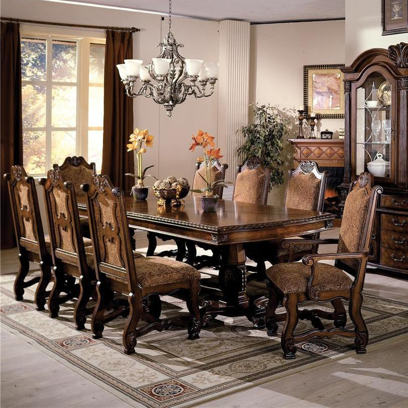 Dining Room Chair Sets Neo Renaissance Double Pedestal Dining Table And Chairs With Traditional Upholstered Seats By Crown Mark At Royal Furniture