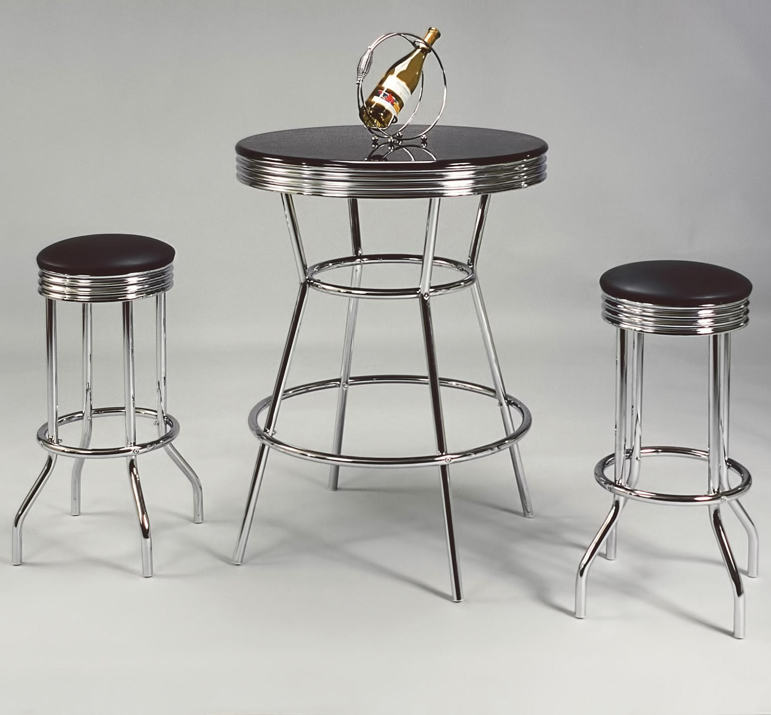 Bar Table With Chairs Retro 3 Piece Bar Table And Swivel Stools Set By Crown Mark At Household Furniture