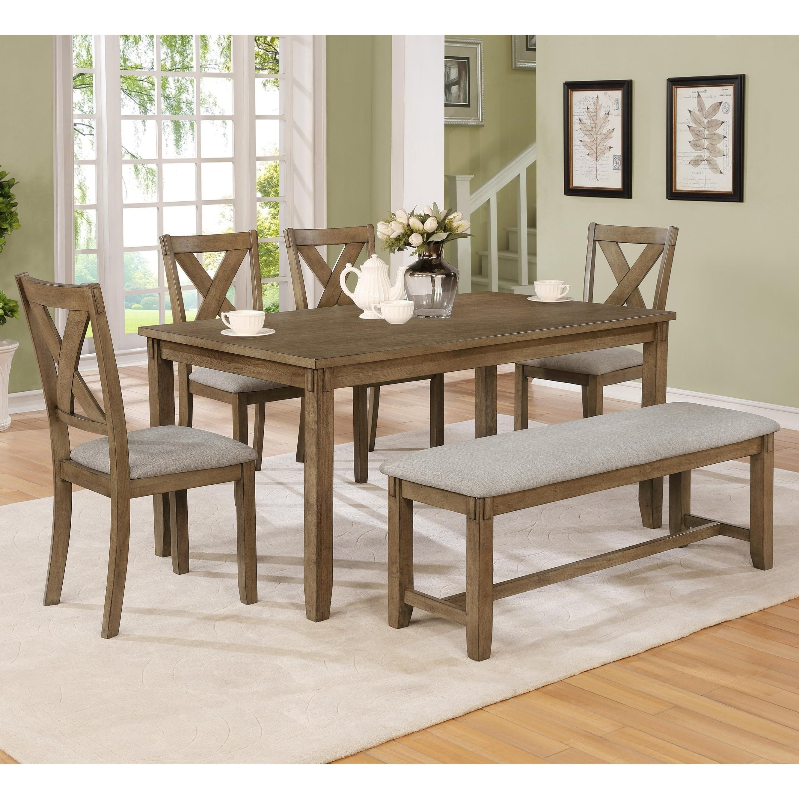 Dining Room Chair Sets Clara 6 Piece Table Set With Bench And Chairs By Crown Mark At Royal Furniture