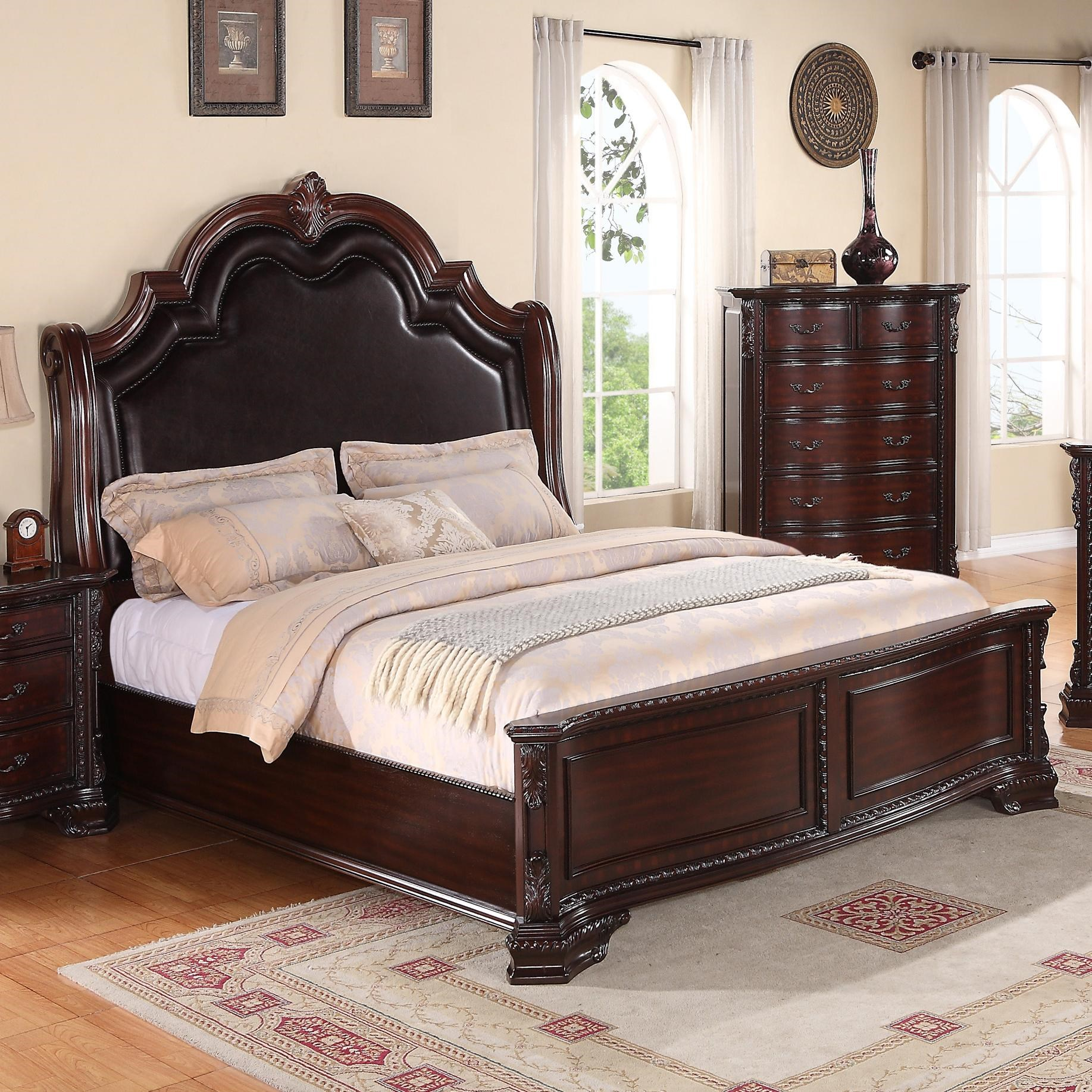 Crown Mark Sheffield King Panel Bed With Upholstered