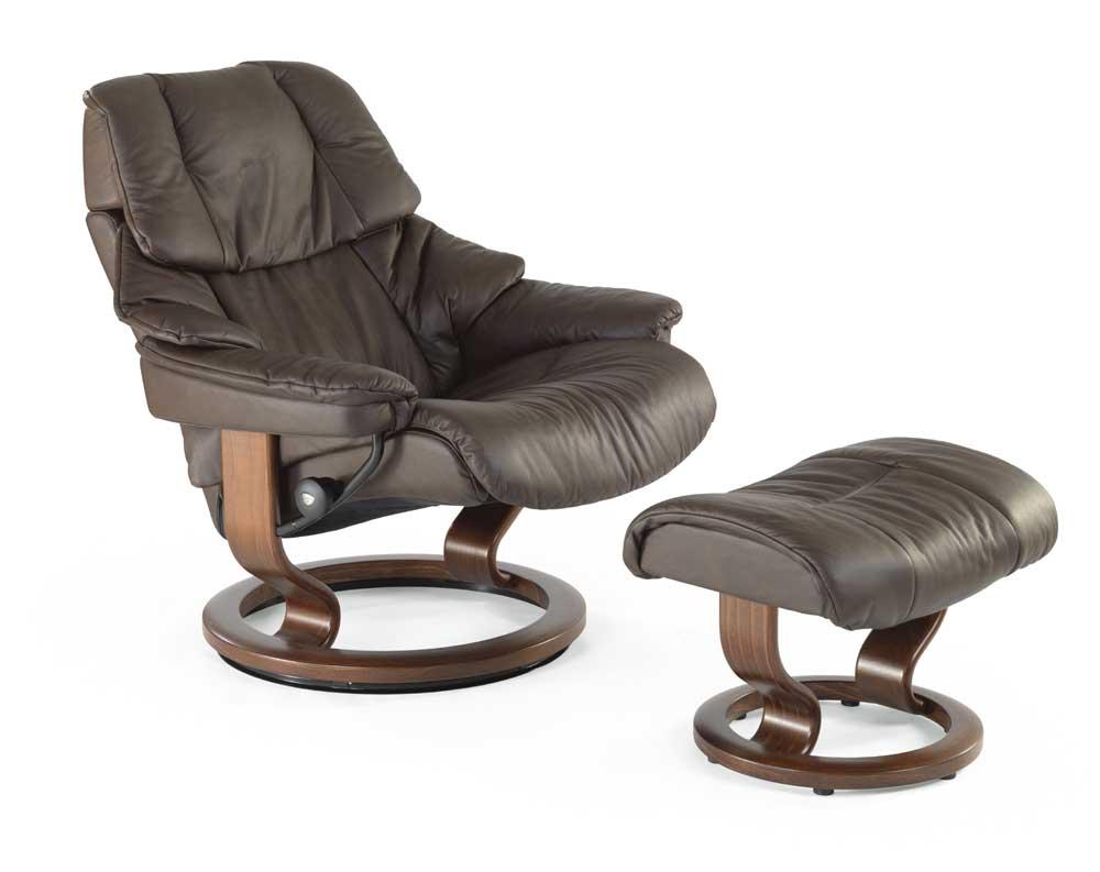 recliner vs chair with ottoman black wicker stressless reno 1169015 medium reclining renomedium classic base