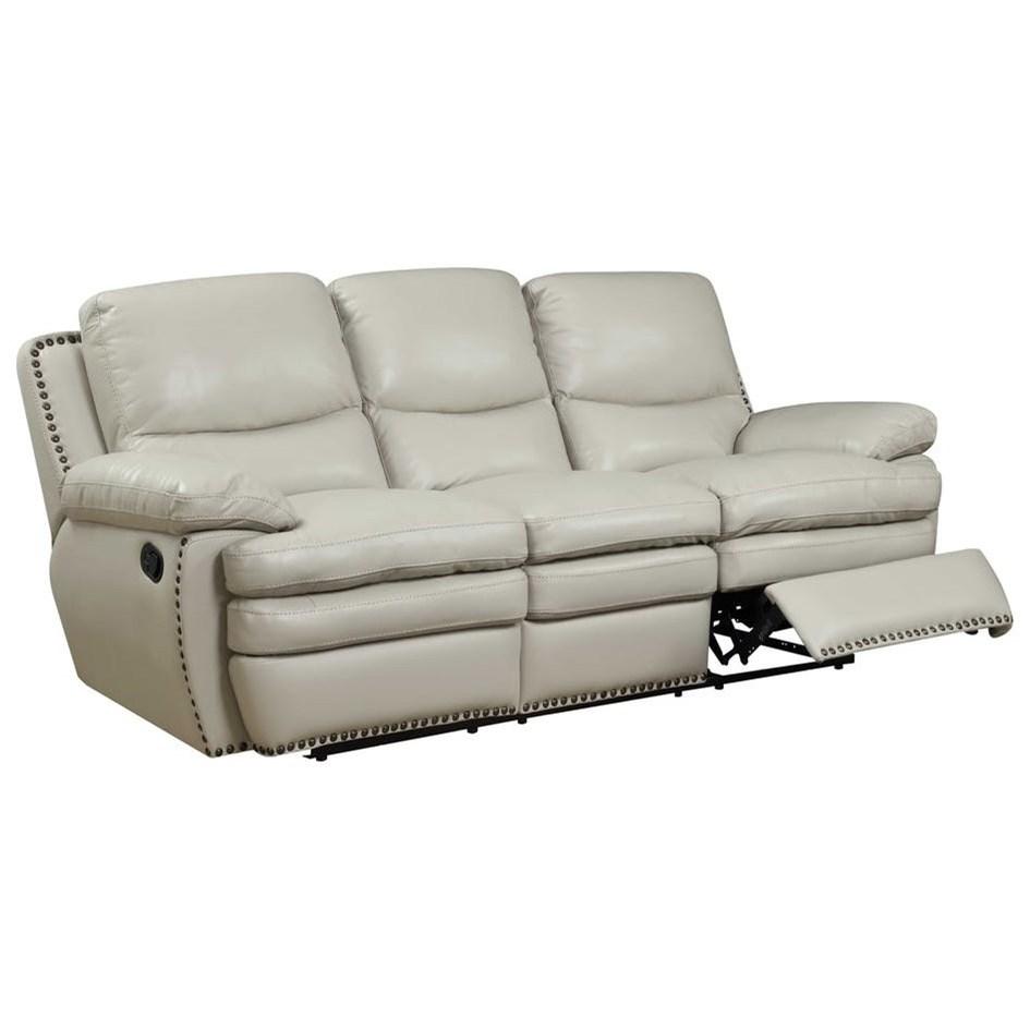 reclining sofa with nailhead trim corduroy corner bed elements international glasgow upholstery power