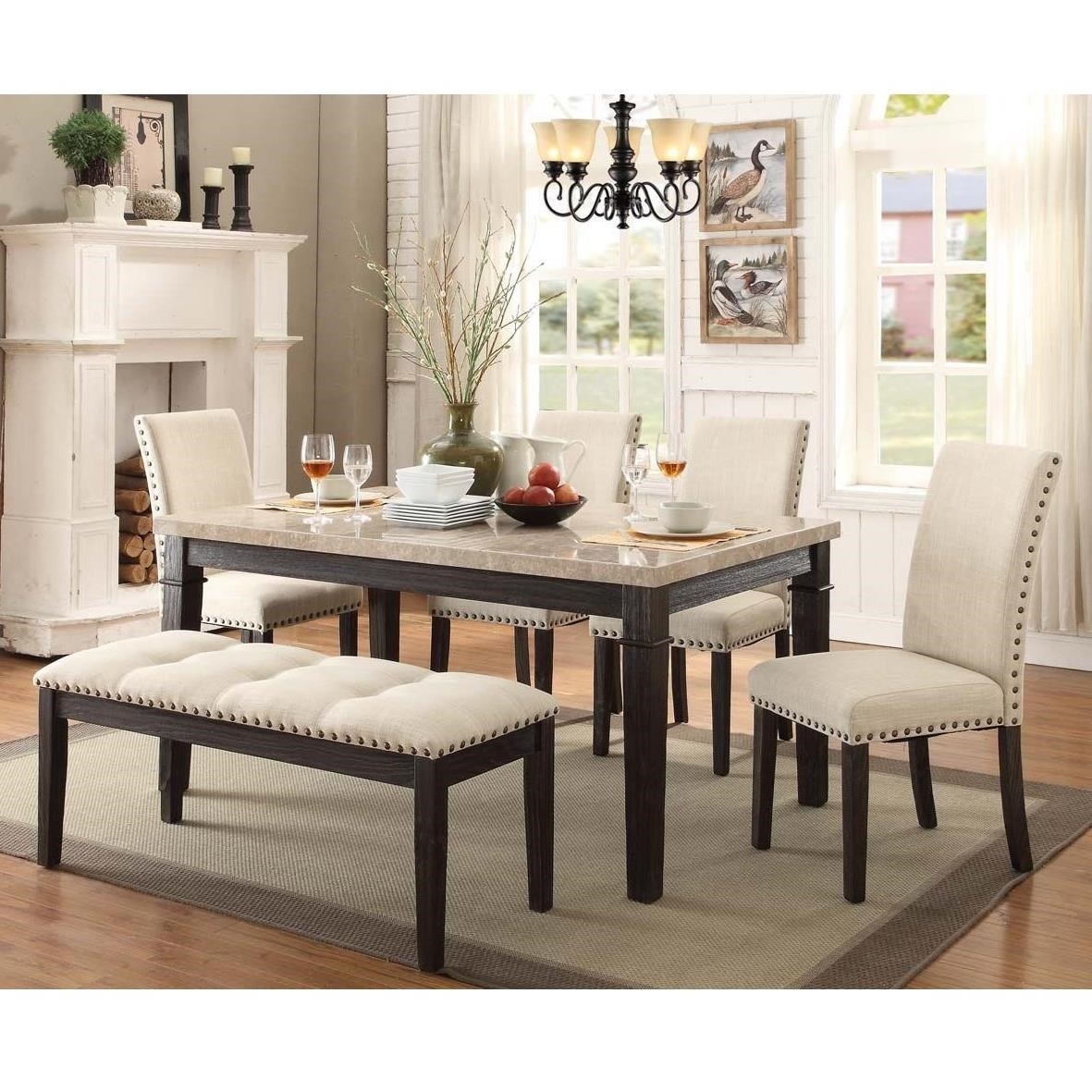 Black Dining Room Table And Chairs Greystone Table And Chair Set With Upholstered Bench By Elements International At Household Furniture