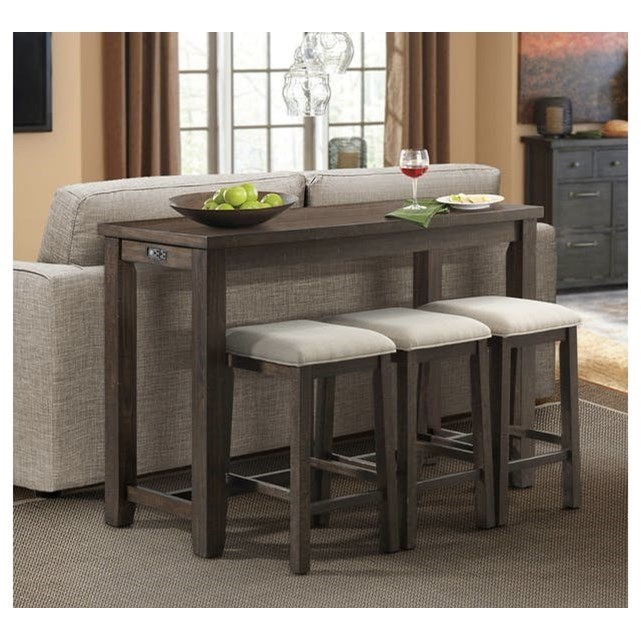 Bar Height Table And Chairs Stone Bar Table Set With Three Stools By Elements International At John V Schultz Furniture