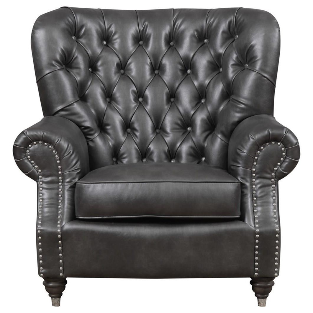 faux leather tufted chair