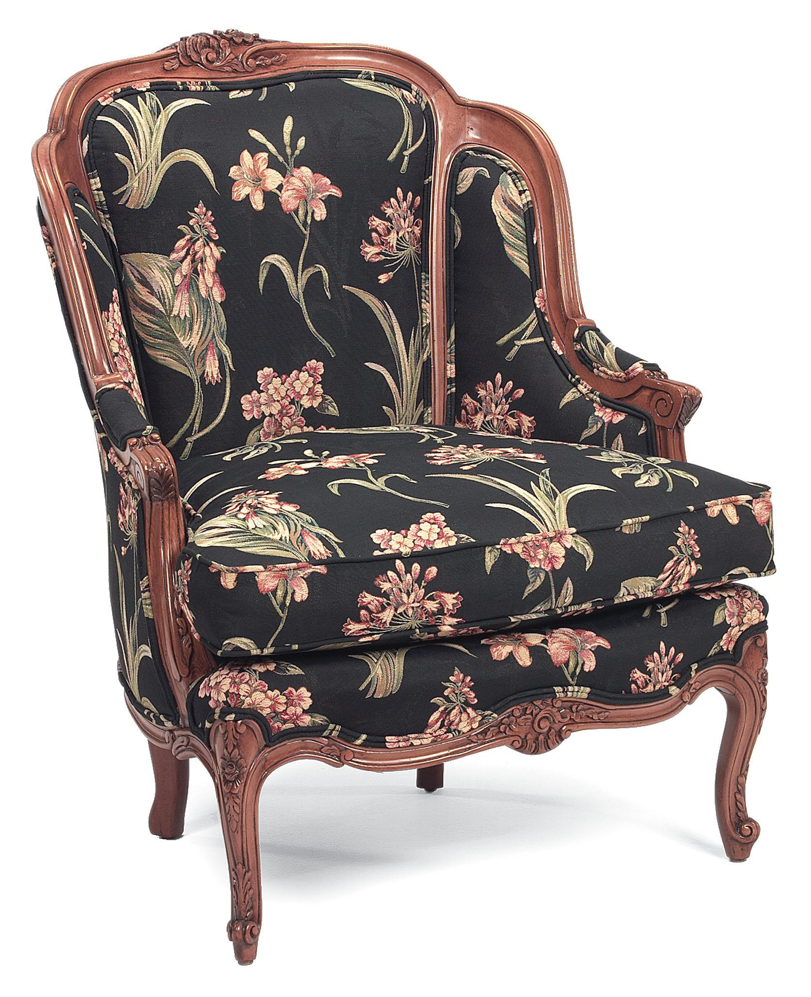 Fairfield Chairs Fairfield Chairs Ornately Carved Exposed Wood Accent Chair