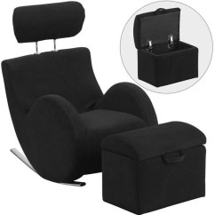 Chairs With Storage Ottoman Folding Cane Chair Flash Furniture Kids Rocking Black Fabric By
