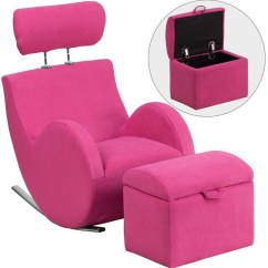 Chairs With Storage Ottoman Antique Wingback Flash Furniture Kids Rocking Chair Pink Fabric By