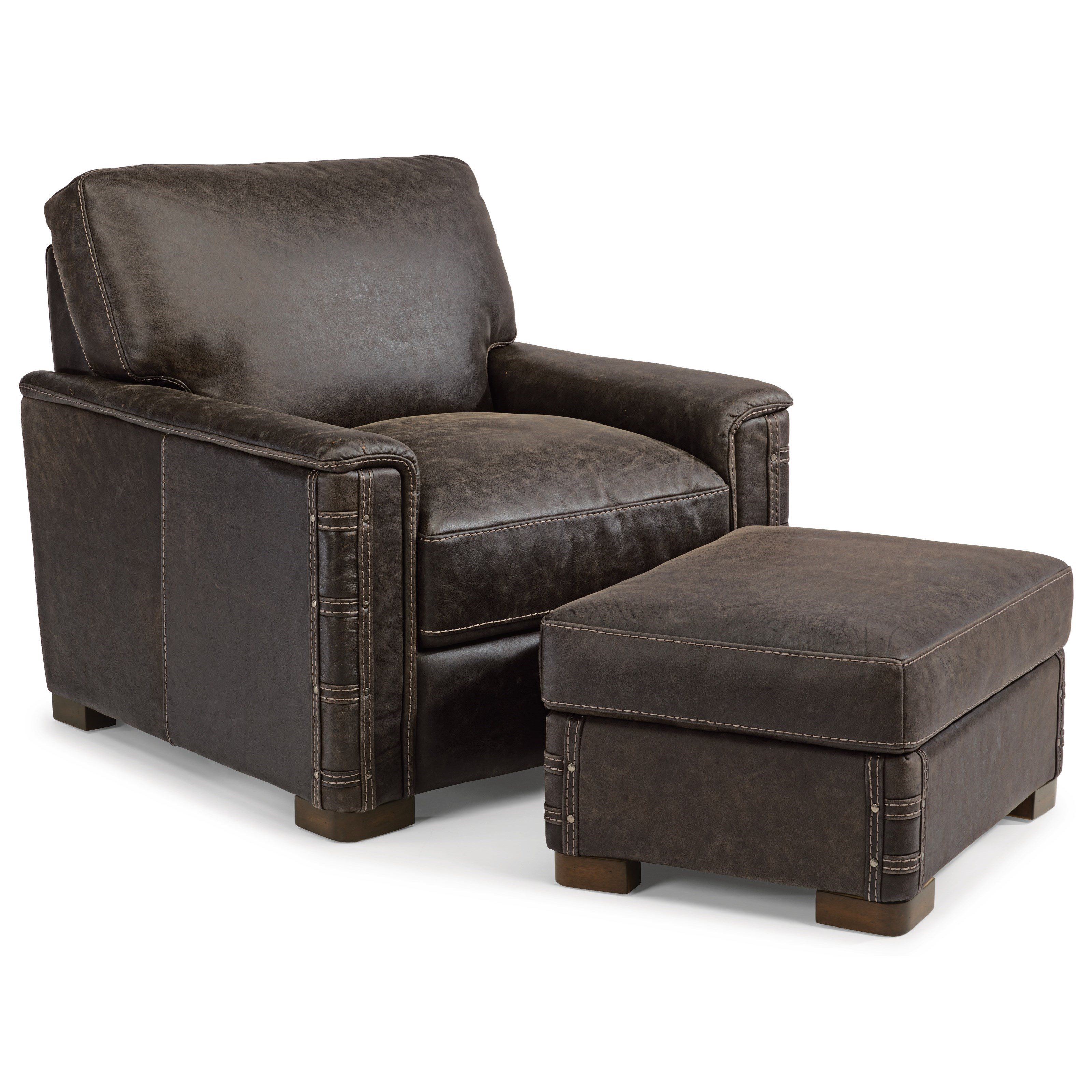 Chair And Ottoman Set Latitudes Lomax Rustic Leather Chair And Ottoman Set By Flexsteel At Turk Furniture