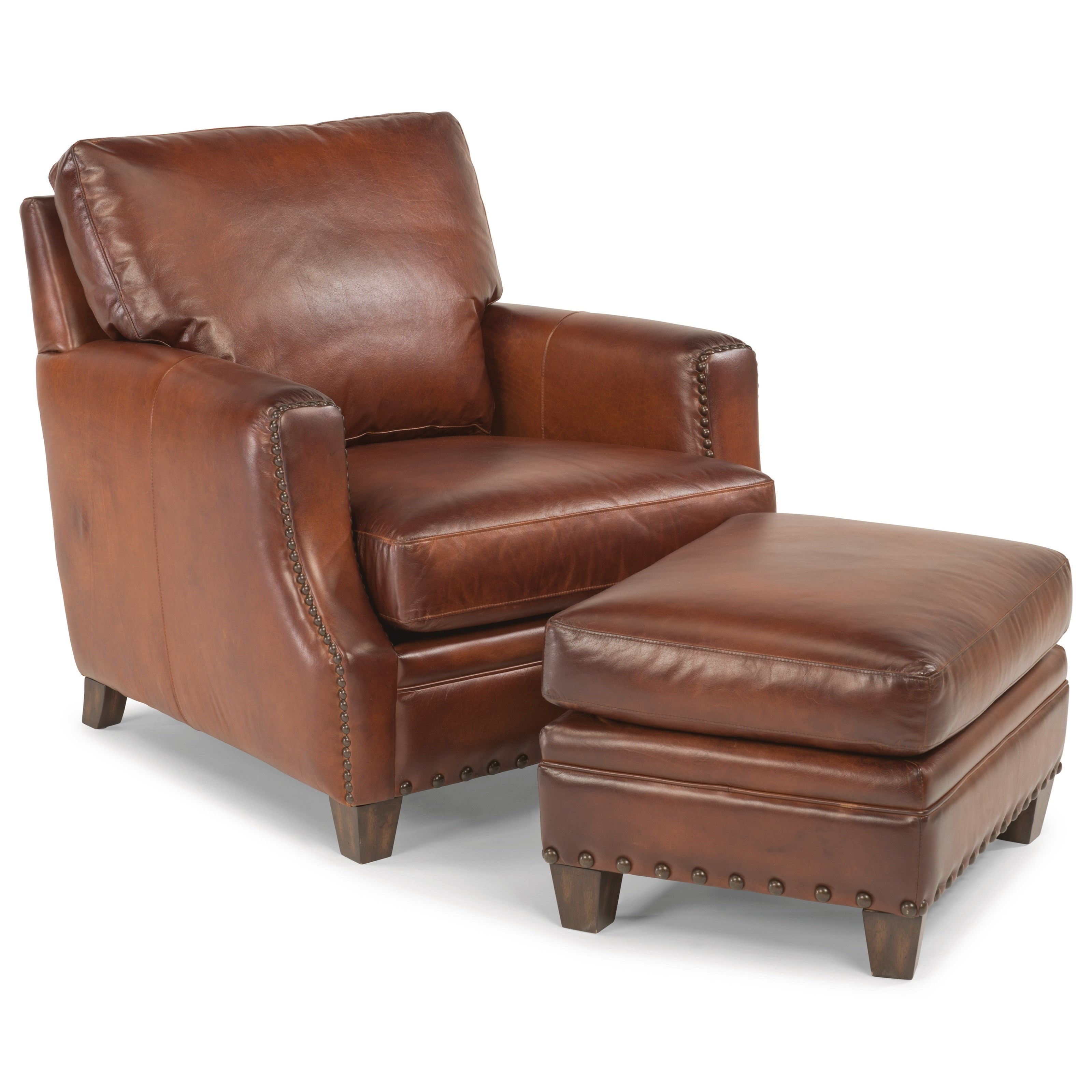Leather Chair And Ottoman Flexsteel Latitudes Maxfield Rustic Leather Chair And Ottoman