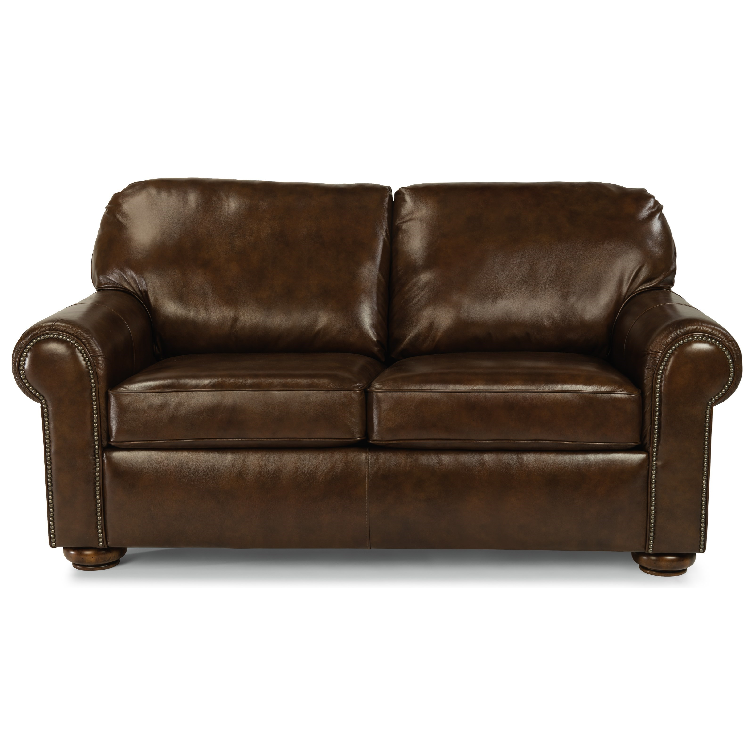 leather sleeper sofa with nailheads extra large chaise sofas flexsteel preston 3536 43 traditional full prestonfull