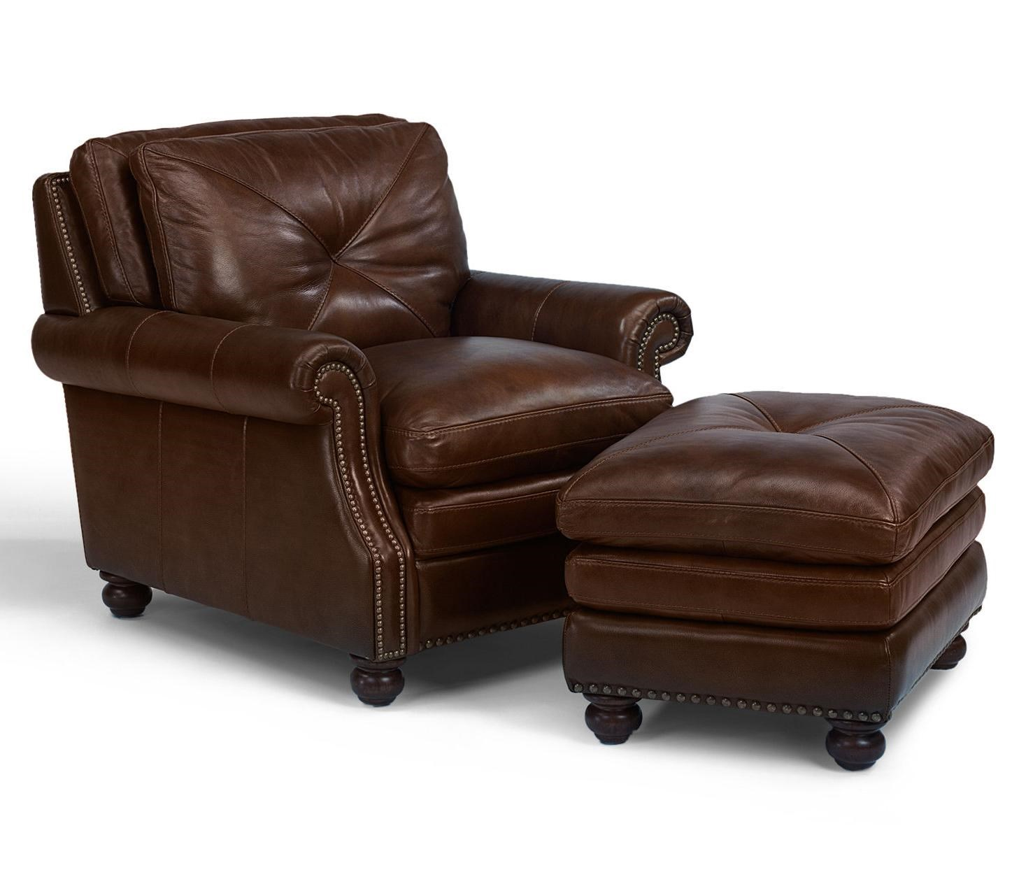 Leather Chairs With Ottoman Latitudes Suffolk Leather Chair And Ottoman Combination Set With Nailhead Trim By Flexsteel At Dunk Bright Furniture