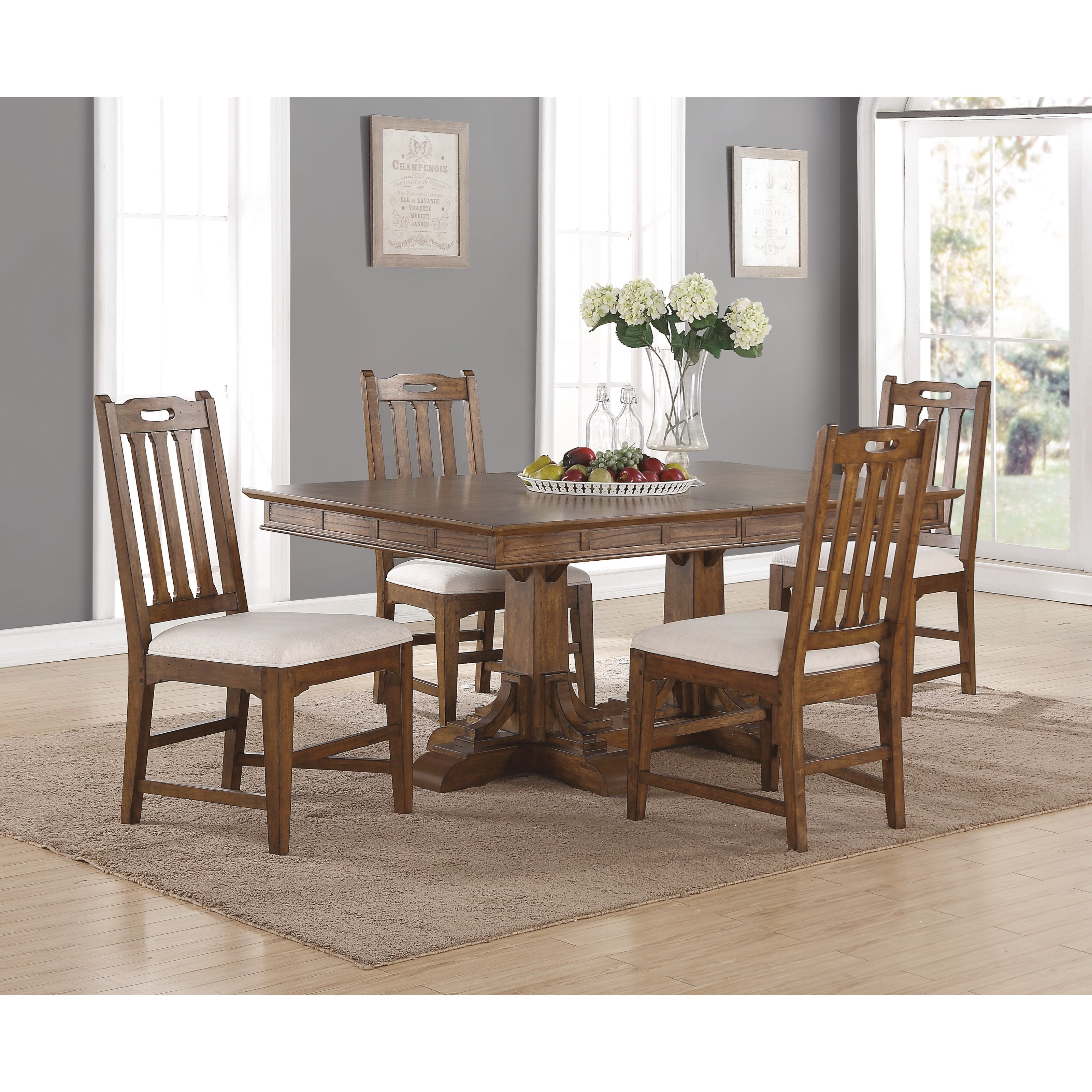 upholstered chairs for dining room fishing chair wowhead flexsteel wynwood collection sonora mission rectangular table and set with removable leaves