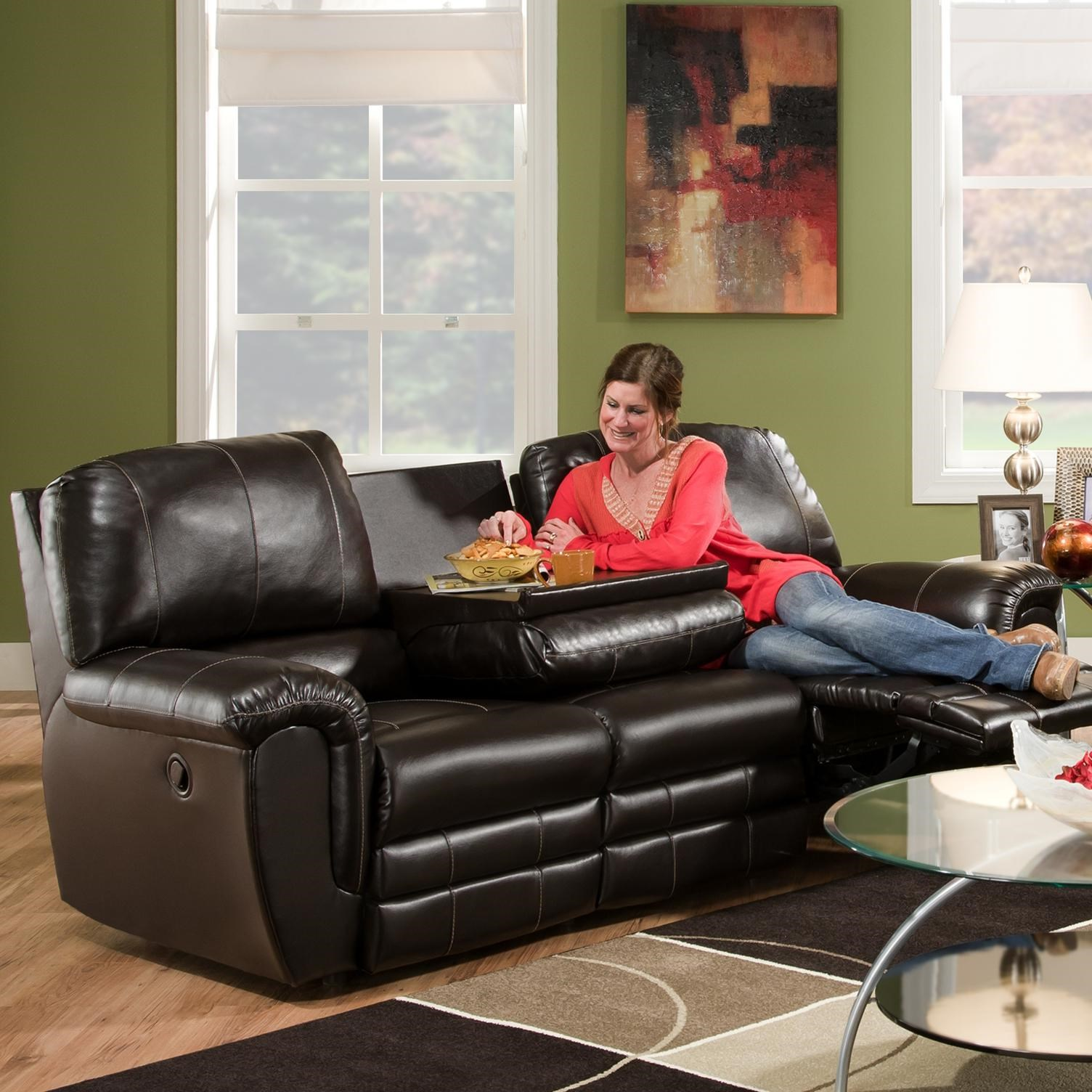 comfortable sofas for family room leather corner sofa sheffield franklin 463 casual double reclining with drop down console