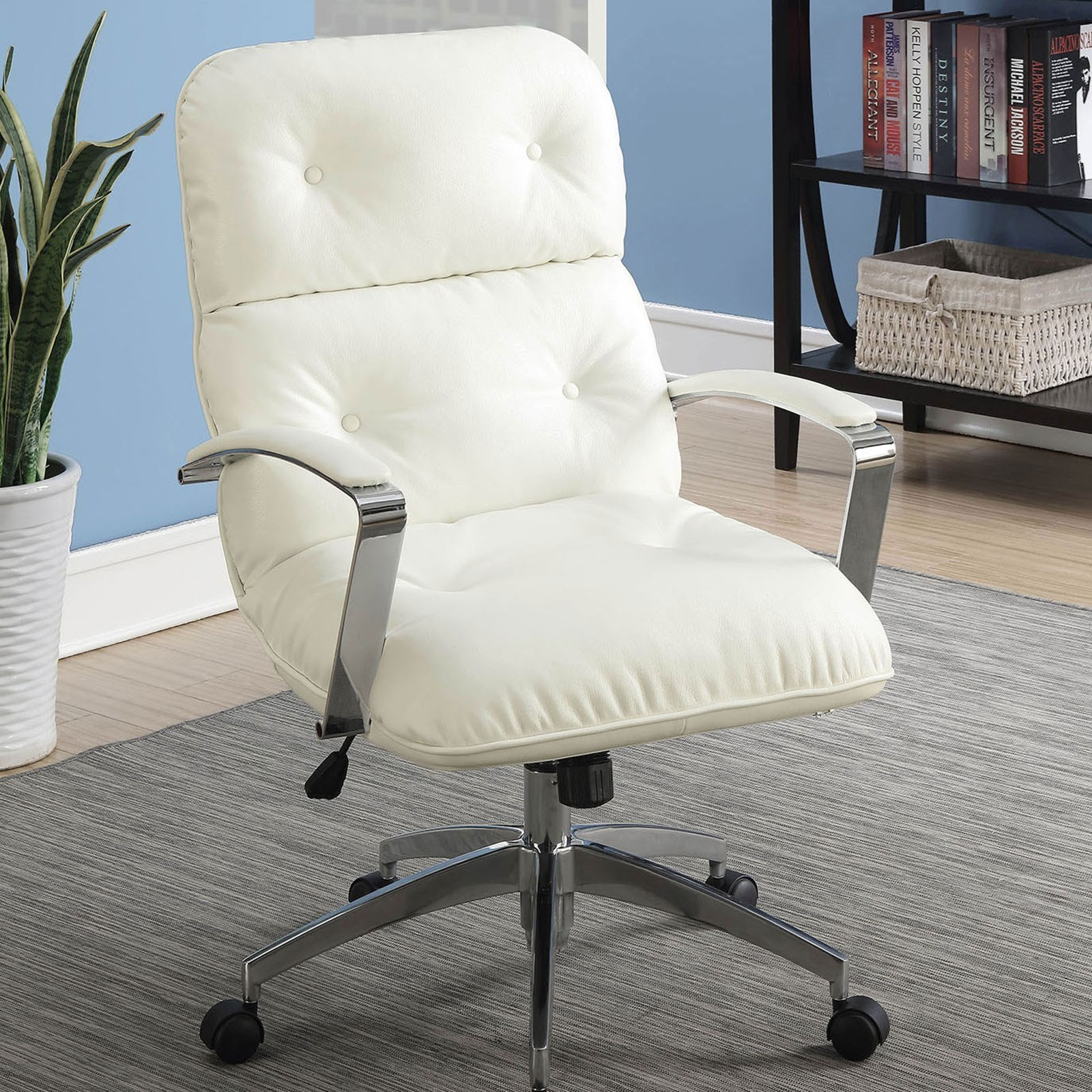 medium resolution of alexis contemporary office chair with casters and button tufting by furniture of america
