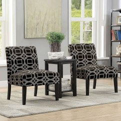 2 Accent Chairs And Table Set Antique Baby High Chair Furniture Of America Fortuna Cm Ac6375 3pk Fortunachair