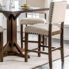 Upholstered Counter Chairs Pompon Nailhead Side Chair Furniture Of America Glenbrook Set 2 Height With Oversize Nailheads
