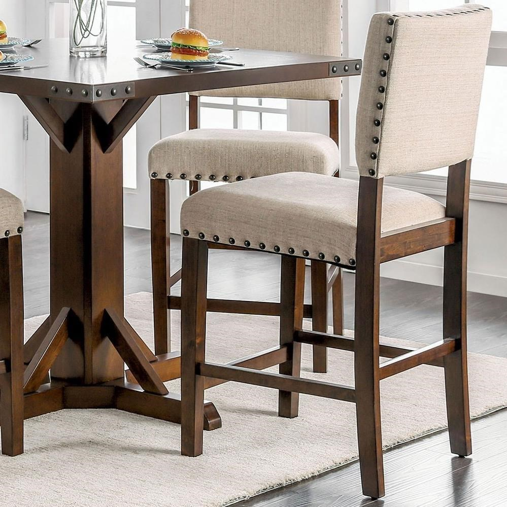 upholstered counter height chairs organza wedding chair sashes furniture of america glenbrook set 2 with oversize nailheads