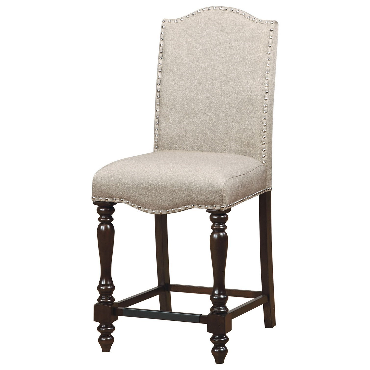 upholstered counter chairs neutral posture renati chair furniture of america hurdsfield set 2 height with nailhead trim
