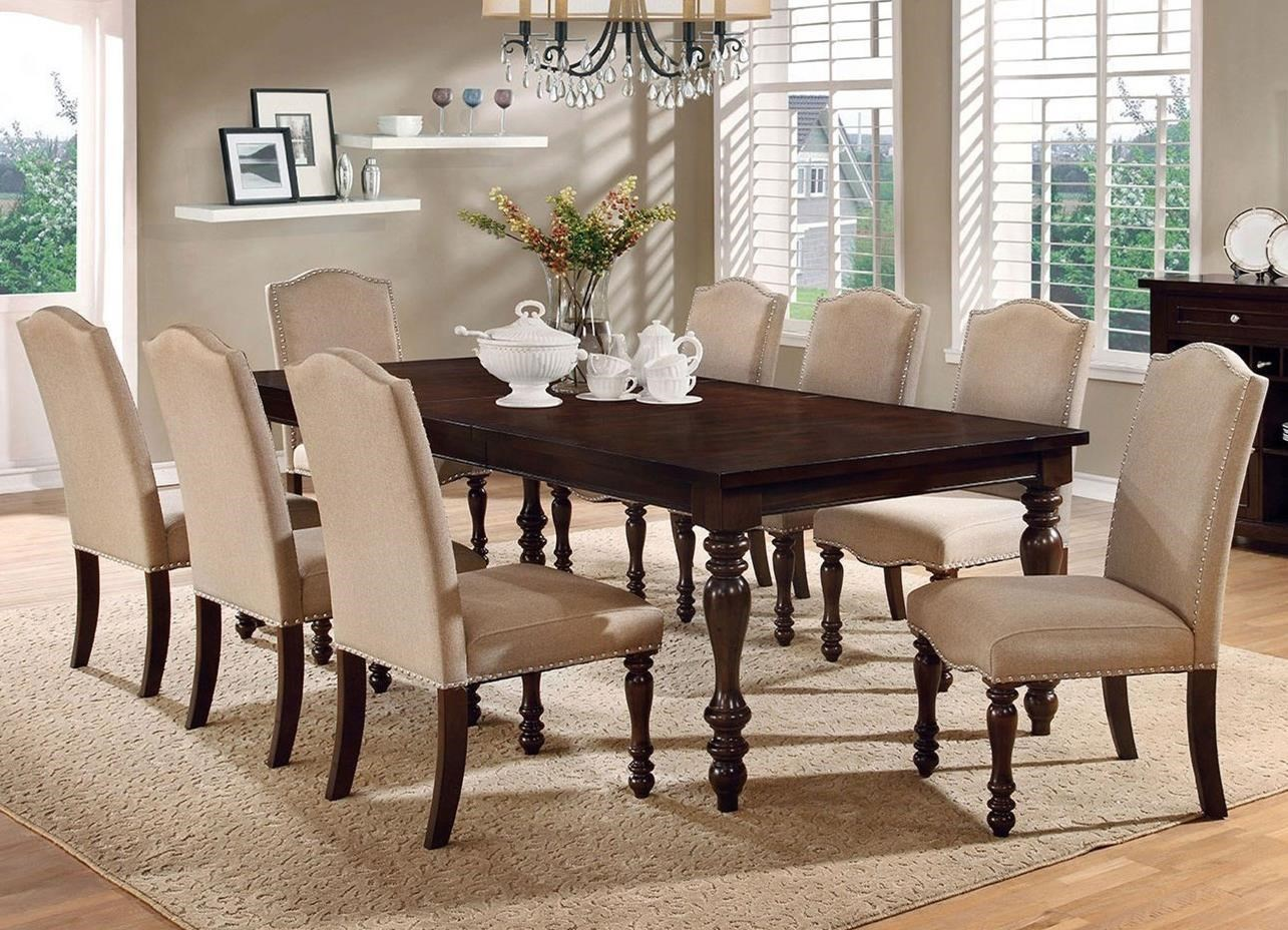 Dining Table 8 Chairs Hurdsfield Transitional Dining Table With 8 Upholstered Side Chairs By America At Del Sol Furniture