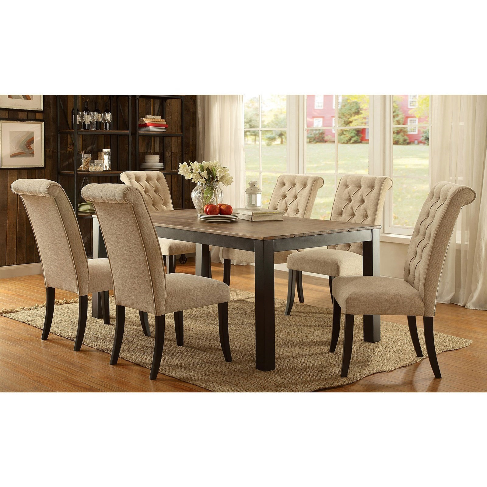 dining chairs at marshalls mission arm chair furniture of america marshall contemporary 7 piece set with button tufted