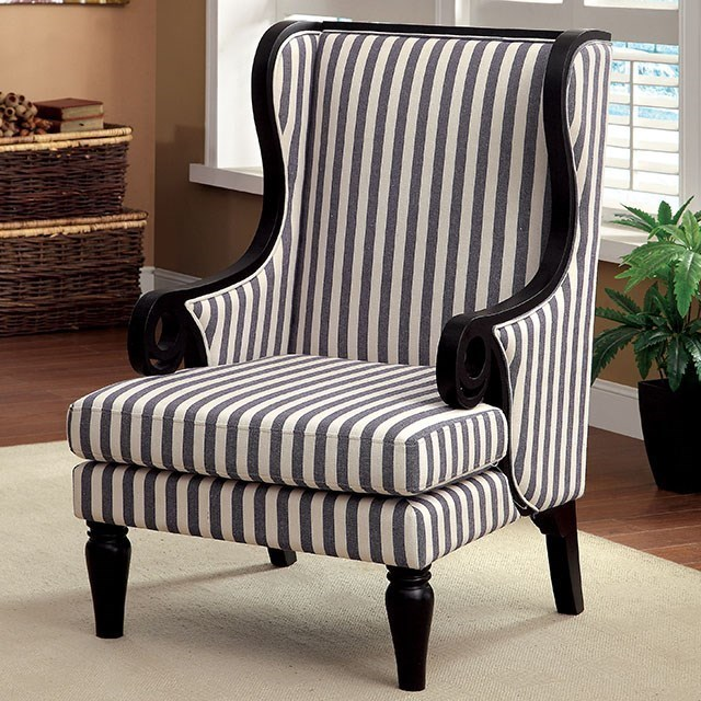 Blue And White Striped Chair Riviera Wing Back Accent Chair In Dark Blue Stripe Fabric By America At Del Sol Furniture