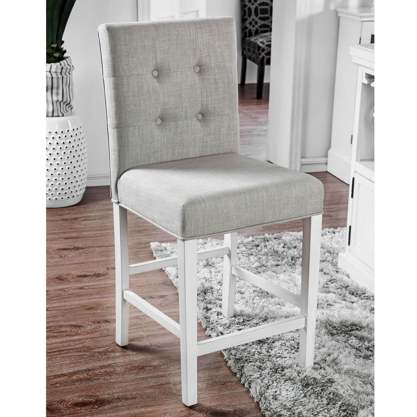 upholstered counter height chairs chair for kid room furniture of america sutton with button tufting