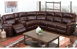 genuine leather reclining sectional w