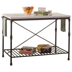 Metal Kitchen Island Cabinet Accessories Accents With White Marble Top Rotmans Hillsdale Accentsmetal