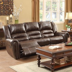 Reclining Sofa With Nailhead Trim Covers For Leather Sofas Homelegance Center Hill Traditional